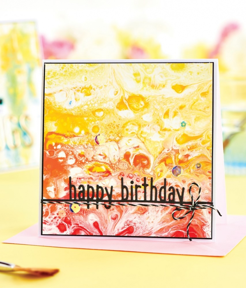 Acrylic Paint Pouring Card