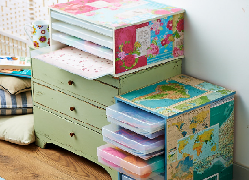 Try decoupage and get great looking paper storage