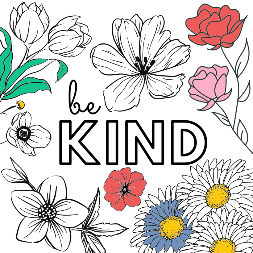 Be Kind Colouring Printable