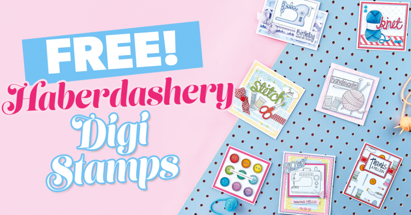 FREE Kate Hadfield Designs Haberdashery Digi Stamps