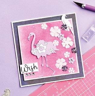 Stencilled Flamingo Card