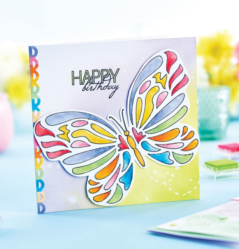 Stencilled butterfly card