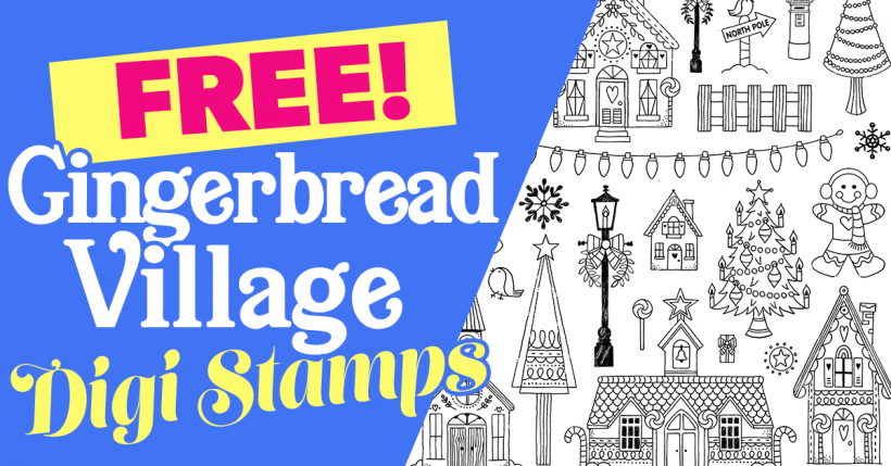 Gingerbread village digi stamps