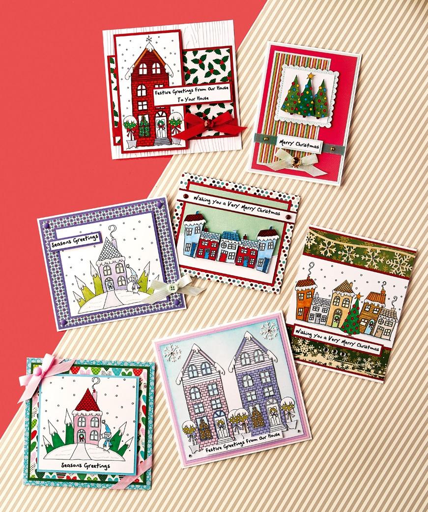 Christmas Village Digi Stamp Cards