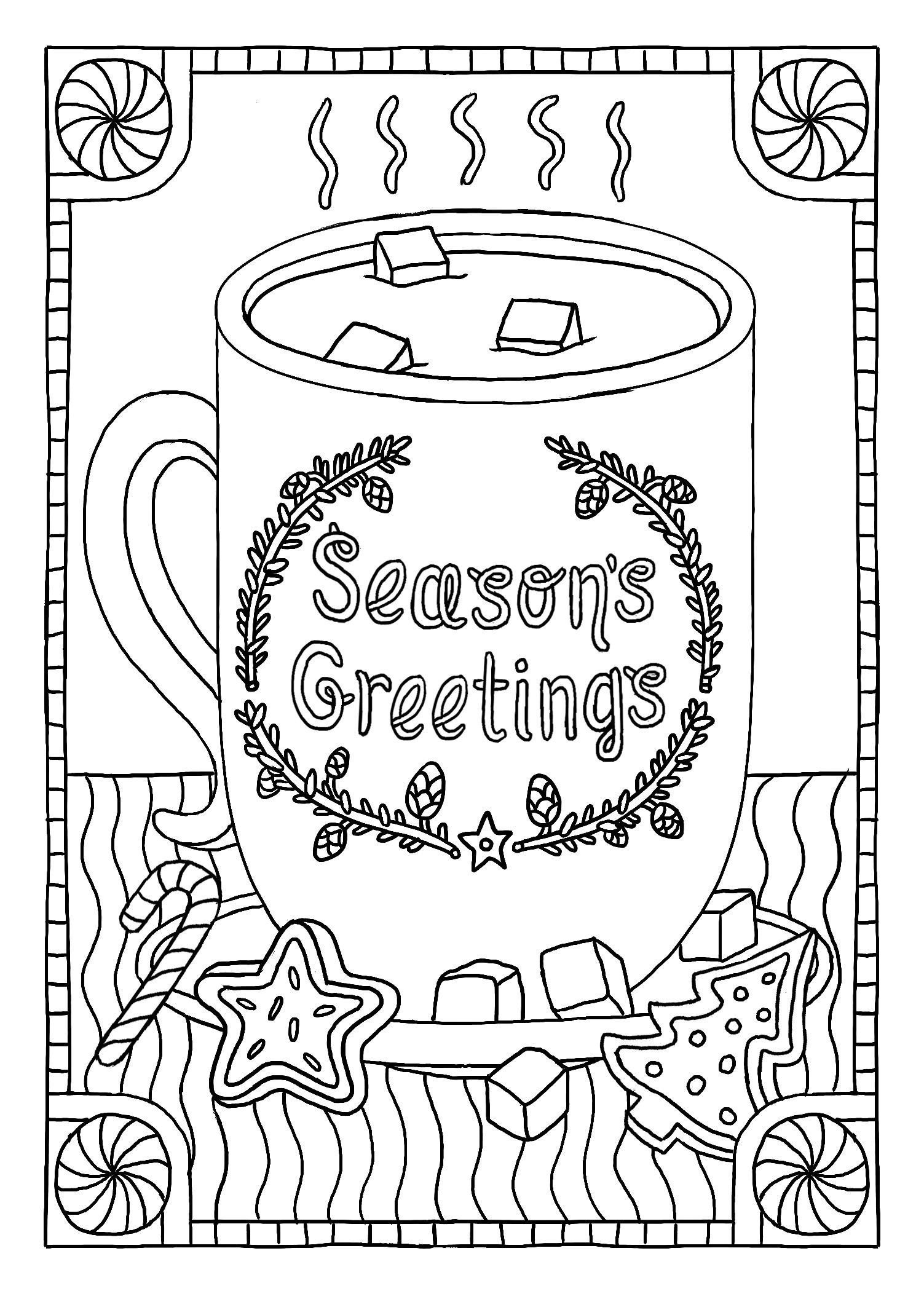 Seasons Greetings mug | Christmas coloring pages