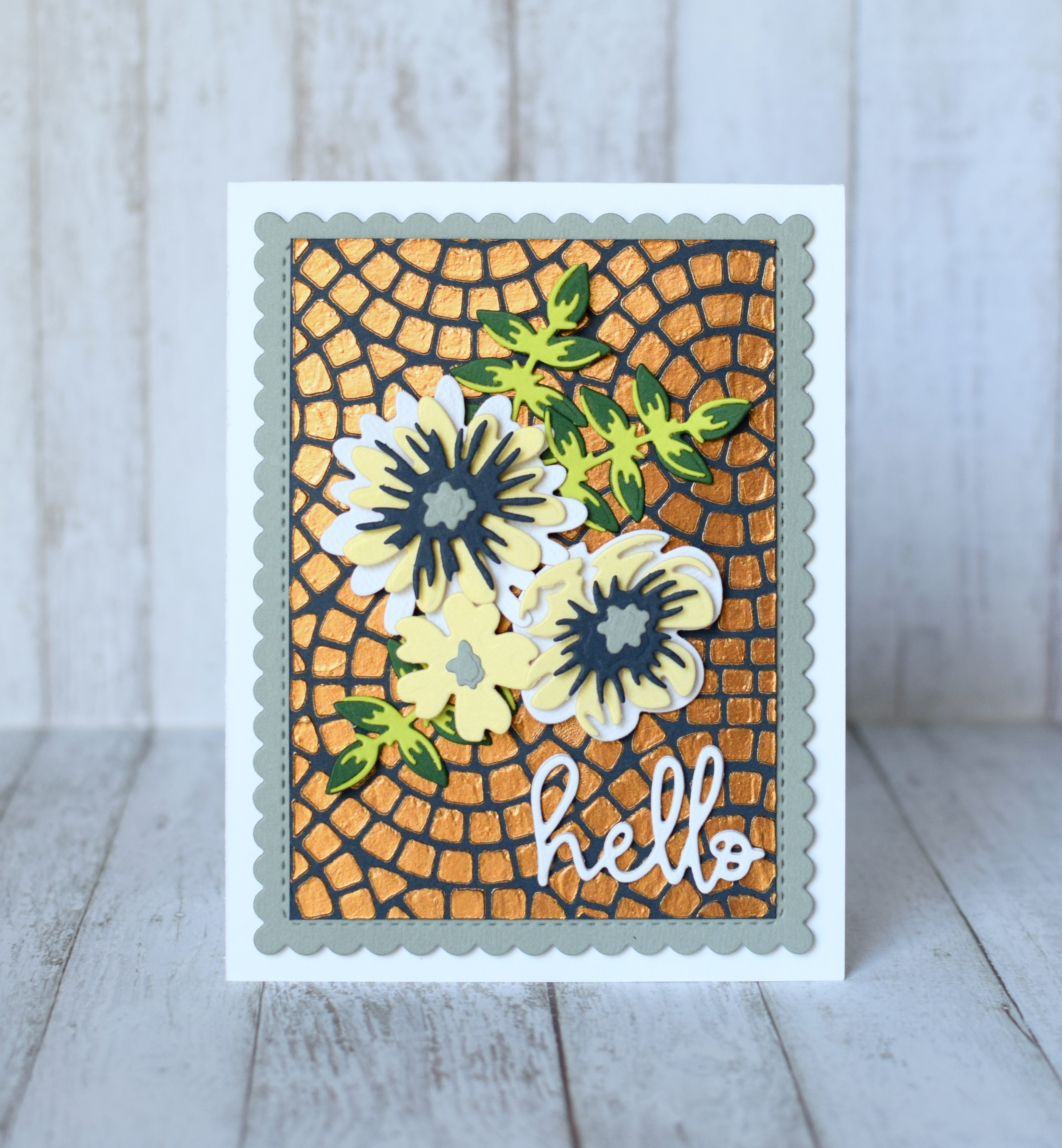 Mosaic stencilled card PaperCrafter project